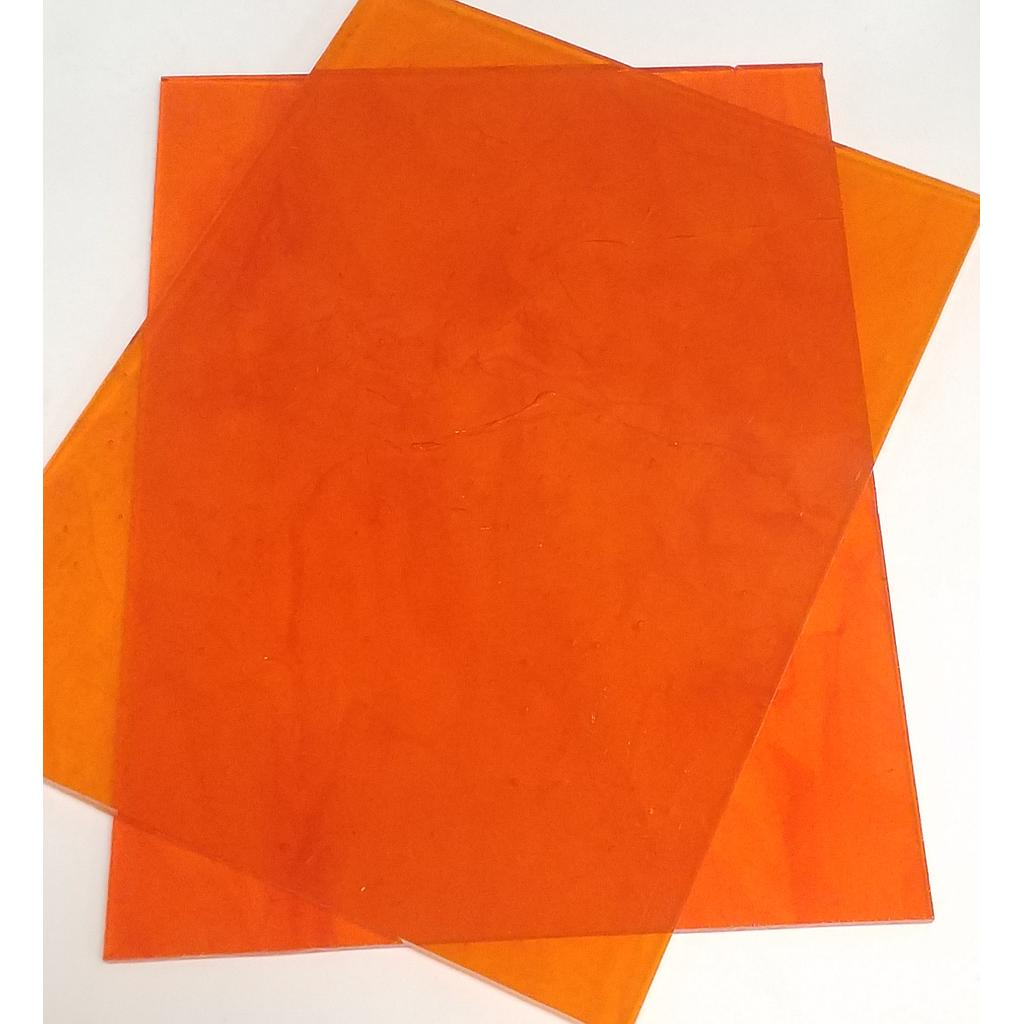 Plaque de Verre 15 x 20 cm, Orange Transparent